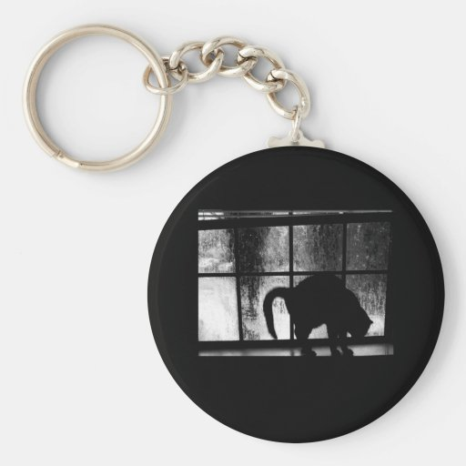 October Showers Cat Silhouette At Window 2 B&W Key Chain