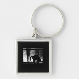October Showers Cat Silhouette At Window 2 B&W Keychain