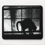 October Showers Cat Silhouette At Window 2 B&W Mousepad