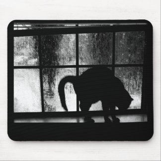 October Showers Cat Silhouette At Window 2 B W Mousepad