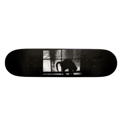 October Showers Cat Silhouette At Window 2 B&W Custom Skate Board
