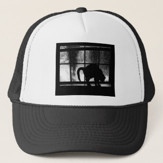 October Showers Cat Silhouette At Window 2 B&W Trucker Hat