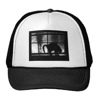 October Showers Cat Silhouette At Window 2 B&W Trucker Hat