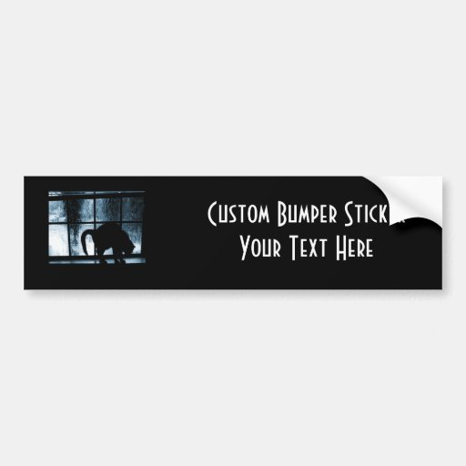 October Showers Cat Silhouette At Window 2 Blue Bumper Sticker