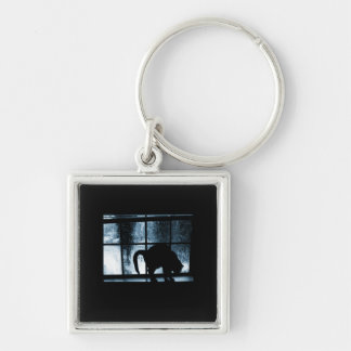 October Showers Cat Silhouette At Window 2 Blue Keychain