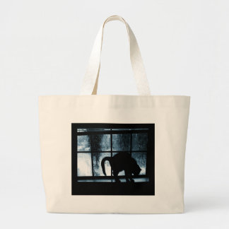 October Showers Cat Silhouette At Window 2 Blue Large Tote Bag