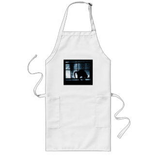 October Showers Cat Silhouette At Window 2 Blue Long Apron