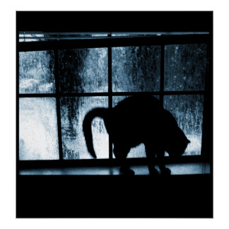 October Showers Cat Silhouette At Window 2 Blue Poster