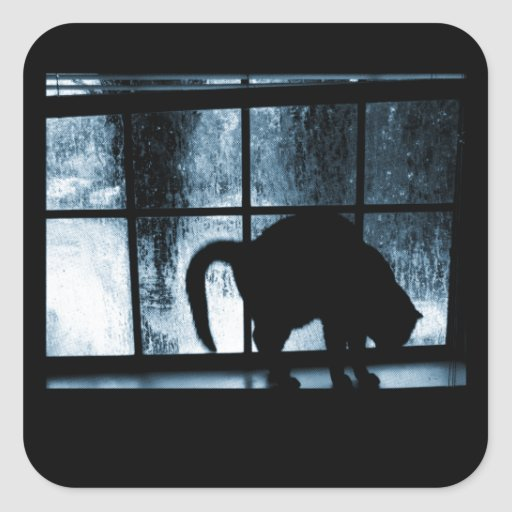 October Showers Cat Silhouette At Window 2 Blue Square Sticker