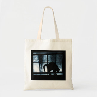 October Showers Cat Silhouette At Window 2 Blue Tote Bag