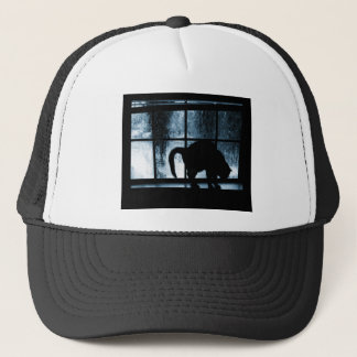 October Showers Cat Silhouette At Window 2 Blue Trucker Hat