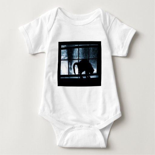 October Showers Cat Silhouette At Window 2 Blue Tee Shirts