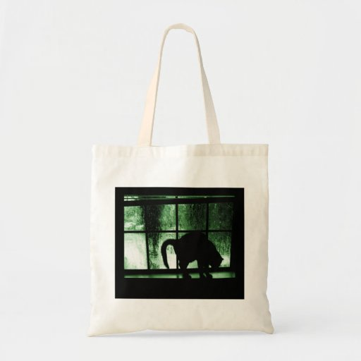 October Showers Cat Silhouette At Window 2 Green Budget Tote Bag