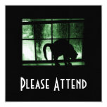 """October Showers Cat Silhouette At Window 2 Green 5.25"""" Square Invitation Card"""