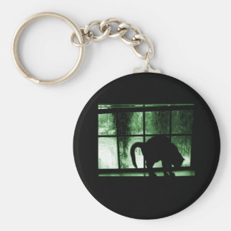 October Showers Cat Silhouette At Window 2 Green Keychain
