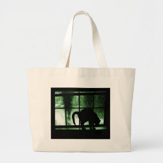October Showers Cat Silhouette At Window 2 Green Large Tote Bag