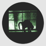 October Showers Cat Silhouette At Window 2 Green Round Sticker