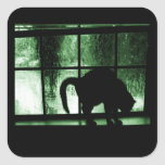 October Showers Cat Silhouette At Window 2 Green Stickers