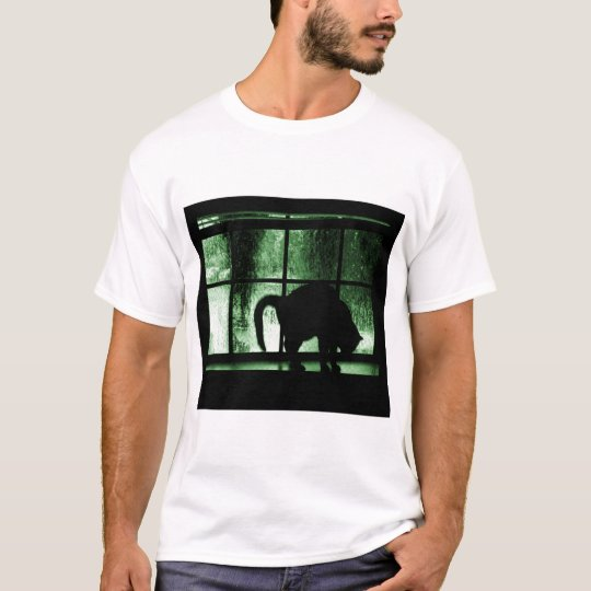 October Showers Cat Silhouette At Window 2 Green T-Shirt