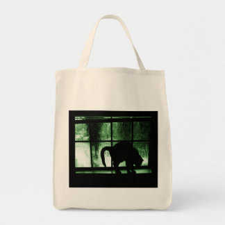 October Showers Cat Silhouette At Window 2 Green Tote Bag