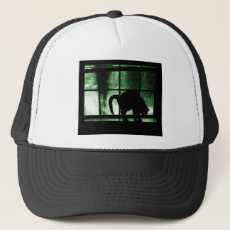 October Showers Cat Silhouette At Window 2 Green Trucker Hat