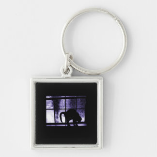 October Showers Cat Silhouette At Window 2 Indigo Keychain