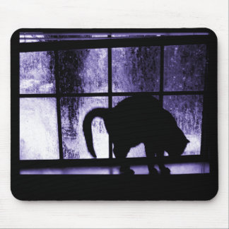 October Showers Cat Silhouette At Window 2 Indigo Mouse Pad