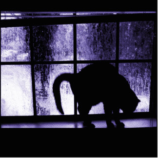 October Showers Cat Silhouette At Window 2 Indigo Photo Sculpture Ornament
