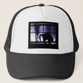 October Showers Cat Silhouette At Window 2 Indigo Trucker Hat