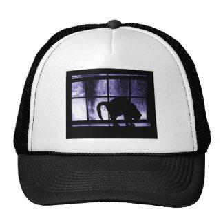 October Showers Cat Silhouette At Window 2 Indigo Trucker Hat