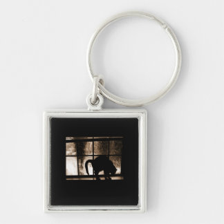 October Showers Cat Silhouette At Window 2 Orange Keychain