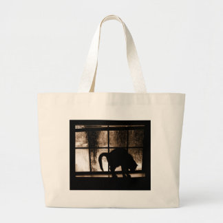 October Showers Cat Silhouette At Window 2 Orange Large Tote Bag