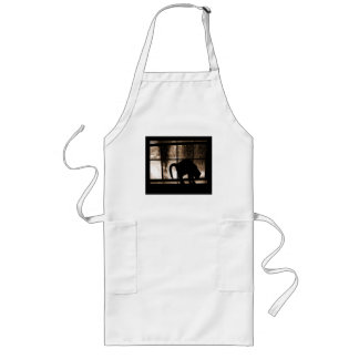 October Showers Cat Silhouette At Window 2 Orange Long Apron
