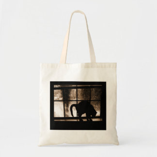 October Showers Cat Silhouette At Window 2 Orange Tote Bag