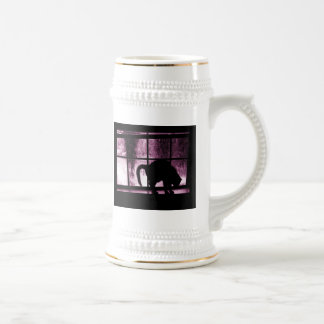 October Showers Cat Silhouette At Window 2 Pink Beer Stein