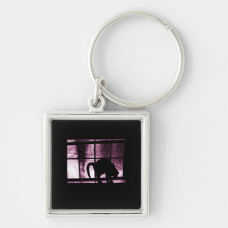October Showers Cat Silhouette At Window 2 Pink Keychain