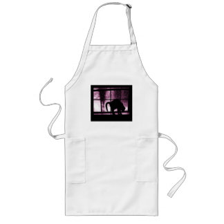 October Showers Cat Silhouette At Window 2 Pink Long Apron