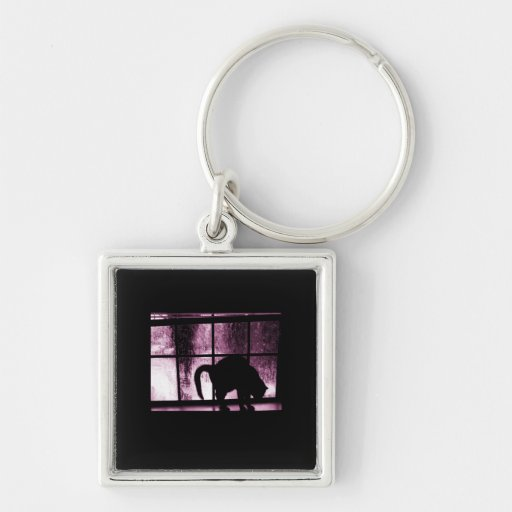 October Showers Cat Silhouette At Window 2 Pink Silver-Colored Square Keychain