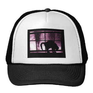October Showers Cat Silhouette At Window 2 Pink Trucker Hat