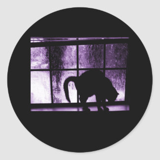 October Showers Cat Silhouette At Window 2 Purple Classic Round Sticker