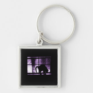 October Showers Cat Silhouette At Window 2 Purple Keychain