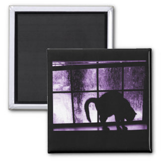October Showers Cat Silhouette At Window 2 Purple Magnet