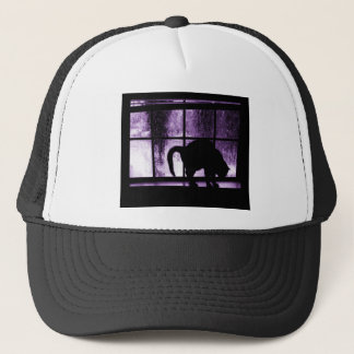 October Showers Cat Silhouette At Window 2 Purple Trucker Hat