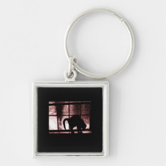October Showers Cat Silhouette At Window 2 Red Keychain