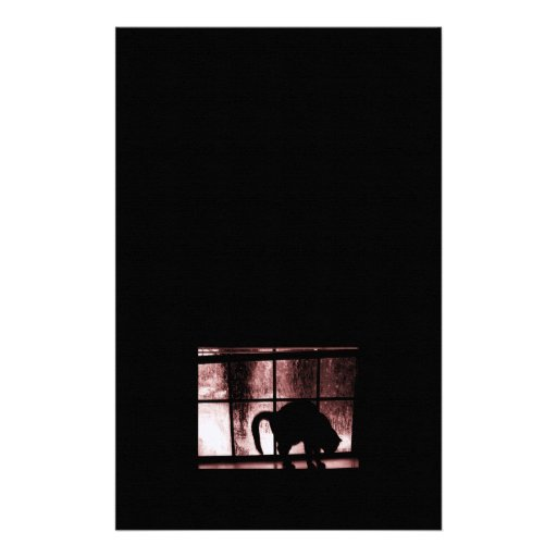 October Showers Cat Silhouette At Window 2 Red Stationery