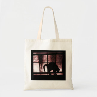 October Showers Cat Silhouette At Window 2 Red Tote Bag