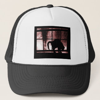 October Showers Cat Silhouette At Window 2 Red Trucker Hat