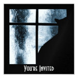 """October Showers Cat Silhouette At Window Blue 5.25"""" Square Invitation Card"""