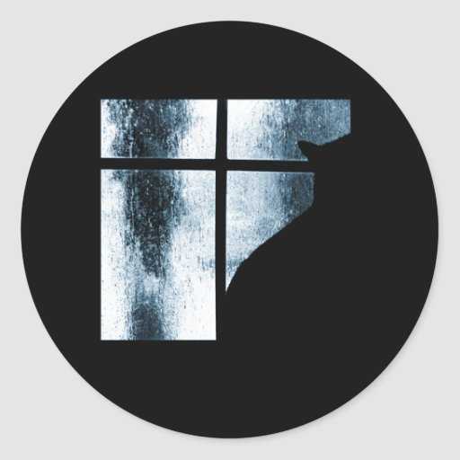 October Showers Cat Silhouette At Window Blue Classic Round Sticker