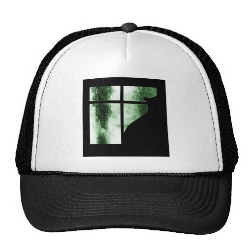 October Showers Cat Silhouette At Window Green Hat
